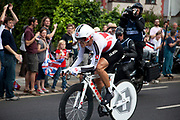 London, UK. Wednesday 1st August 2012. The Men's Individual Time Trial cycling event passes through Twickenham on route to find the fastest male cyclist. Rider Fabian Cancellara of Switzerland.