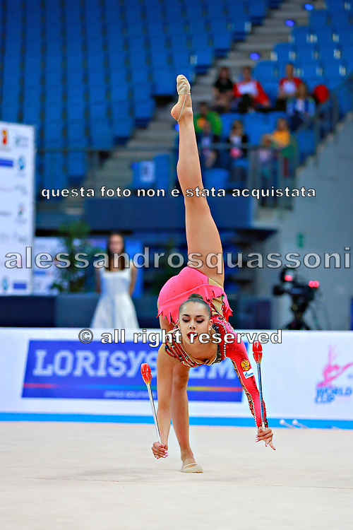 Margarita Mamun of Russia competes during the rhythmic gymnastics individual clubs qualification of the World Cup at Adriatic Arena on April 2, 2016 in Pesaro, Italy. Margarita was born 1 November 1995 in Moscow, she is a retired Russian individual rhythmic gymnast.<br /> In Rio Olympic games 2016 won the gold medal in All-around.