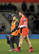 Leicester Tigers centre Jaco Tate leaves the field with a shoulder injury during a Gallagher Premiership Rugby Union match Sale Sharks -V- Leicester Tigers, won by Sale 36-3 on Friday, Feb. 21, 2020, in Eccles, United Kingdom. (Steve Flynn/Image of Sport via AP)