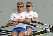 28/08/2003 Thursday.2003 World Rowing Championships, Idroscala. Milan, Italy.Semi finals, men's double sculls,  Britain's Ian Lawson [left] andMatthew Wells, at the start of their semi final ... Milan. ITALY 2003 World Rowing Championships. Idro Scala Rowing Course. [Mandatory Credit: Peter Spurrier: Intersport Images.]