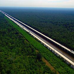 Aerial  of Atchafalaya Basin Bridge outside of  Baton Rouge, LA