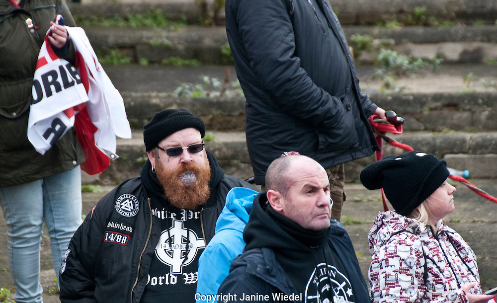 Right Wing groups taking part in an Anti-Immigration anti-refugee Rally organized by the National Front in Dover Kent Jan 30th 2016
