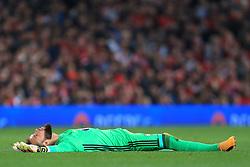11th May 2017 - UEFA Europa League - Semi Final (2nd Leg) - Manchester United v Celta Vigo - Celta Vigo goalkeeper Sergio Alvarez lies on the floor dejected - Photo: Simon Stacpoole / Offside.