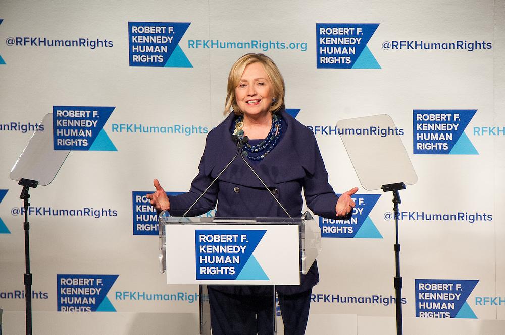 Hillary Clinton honored at RFK Human Rights  Gala in New York City.