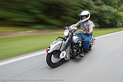 Mark Hill riding his 1936 Indian Four during Stage 3 of the Motorcycle Cannonball Cross-Country Endurance Run, which on this day ran from Columbus, GA to Chatanooga, TN., USA. Sunday, September 7, 2014.  Photography ©2014 Michael Lichter.