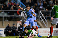 SYDNEY, AUSTRALIA - AUGUST 21: Melbourne City player Florin Berenguer (10) and Marconi Stallions player Anthony Frangie (9) collide during the FFA Cup round of 16 soccer match between Marconi Stallions FC and Melbourne City FC on August 21, 2019 at Marconi Stadium in Sydney, Australia. (Photo by Speed Media/Icon Sportswire)