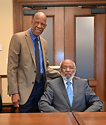 6/25/21  James Meredith poses with Terrence Roberts of The Little Rock Nine, inside the Governors Office at the Minnesota  State Capitol after they spoke with Governor Tim Walz and Lt. Governor Peggy Flanagan.  Meredith says he was the George Floyd of his time, and today on his 88th Birthday is the sentencing of ex police officer Derek Chauvin. Meredith snd the Governor discussed racism, segregation, and how to solve these pressing issues facing communities across America.  Civil rights icon James Meredith is in Minnesota for More Than A Moment, a series of roundtable discussions with students, educators, lawyers, and community leaders and faith leaders to discuss ways to end racism and how to build strong community leaders. Meredith emphasized the importance of speaking the truth and working together to make change for the better in our communities. Photo © Suzi Altman 6/25/21  Pictured ,James Meredith, second from left, Governor Walz, left, Lt Governor Peggy Flanagan and Terrence Roberts of the Little Rock Nine.  Meredith says he was the George Floyd of his time, and today on his 88th Birthday is the sentencing of ex police officer Derek Chauvin for murdering George Floyd. Meredith and the Governor discussed racism, segregation, and how to solve these pressing issues facing communities across America.  Civil rights icon James Meredith is in Minnesota for More Than A Moment, a series of roundtable discussions with students, educators, lawyers, and community leaders and faith leaders to discuss ways to end racism and how to build strong community leaders. Meredith emphasized the importance of speaking the truth and working together to make change for the better in our communities. Photo © Suzi Altman
