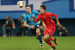 September 28, 2017 - Saint Petersburg, Russia - Daler Kuzyaev of FC Zenit Saint Petersburg (L) and Álvaro Odriozola of FC Real Sociedad vie for the ball during the UEFA Europa League Group L football match between FC Zenit Saint Petersburg and FC Real Sociedad at Saint Petersburg Stadium on September 28, 2017 in St.Petersburg, Russia. (Credit Image: © Igor Russak/NurPhoto via ZUMA Press)
