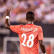 MEADOWLANDS, NEW JERSEY- August 7:   Vinícius Júnior #28 of Real Madrid in action during the Real Madrid vs AS Roma International Champions Cup match at MetLife Stadium on August 7, 2018 in Meadowlands, New Jersey. (Photo by Tim Clayton/Corbis via Getty Images)