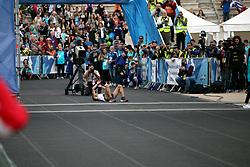 November 12, 2017 - Athens, Attica, Greece - Gkelaouzos Konstantinos crosses the finish line at the Panathenaic stadium at the 35th Athens Classic Marathon in Athens, Greece, November 12, 2017. (Credit Image: © Giorgos Georgiou/NurPhoto via ZUMA Press)