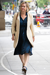 © Licensed to London News Pictures. 14/07/2019. London, UK. Secretary of State for Work and Pensions Amber Rudd arrives at the BBC. Later she will appear on the Andrew Marr Show. Photo credit: George Cracknell Wright/LNP
