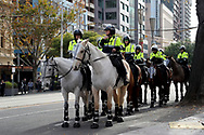 A heavy mounted police presence on Bourke St on 06 June, 2020 in Melbourne, Australia. This event was organised to rally against aboriginal deaths in custody in Australia as well as in unity with protests across the United States following the killing of an unarmed black man George Floyd at the hands of a police officer in Minneapolis, Minnesota. (Photo by Brett Keating/ Speed Media)