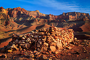 Ruin on a hilltop at Cardenas Creek in the interior of the Grand Canyon