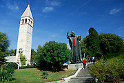 Statue of Grgur Ninski (Gregory of Nin), sculpted by Ivan Mestrovic. Statue is wearing a traditional red Croatian tie, or cravat.  Split, Croatia