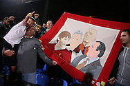 Liverpool fans celebrate after the final whistle as they hold up a banner of Liverpool legends. Premier League match, Crystal Palace v Liverpool at Selhurst Park in London on Saturday 29th October 2016.<br /> pic by John Patrick Fletcher, Andrew Orchard sports photography.