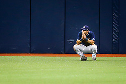 May 11, 2017 - St. Petersburg, Florida, U.S. - WILL VRAGOVIC       Times.Tampa Bay Rays center fielder Kevin Kiermaier (39) takes a moment in the outfield after his two run error on the single by Kansas City Royals second baseman Whit Merrifield (15) in the eighth inning of the game between the Tampa Bay Rays and the Kansas City Royals at Tropicana Field in St. Petersburg, Fla. on Thursday, May 11, 2017. The Kansas City Royals beat the Tampa Bay Rays 6-0. (Credit Image: © Will Vragovic/Tampa Bay Times via ZUMA Wire)
