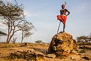A portrait of a Samburu warrior posing on a rock,Samburu, Kenya, Africa