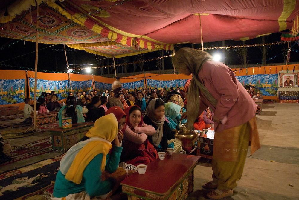 A Ladakhi Buddhist wedding outside of Leh, Ladakh. October 2008