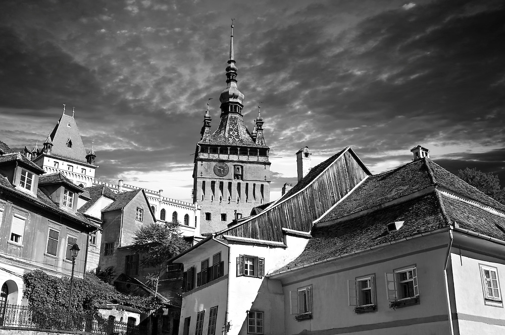 Medieval clock tower & gate of Sighisoara Saxon fortified medieval citadel, Transylvania, Romania .<br /> <br /> Visit our ROMANIA HISTORIC PLACXES PHOTO COLLECTIONS for more photos to download or buy as wall art prints https://funkystock.photoshelter.com/gallery-collection/Pictures-Images-of-Romania-Photos-of-Romanian-Historic-Landmark-Sites/C00001TITiQwAdS8<br /> .<br /> Visit our MEDIEVAL PHOTO COLLECTIONS for more   photos  to download or buy as prints https://funkystock.photoshelter.com/gallery-collection/Medieval-Middle-Ages-Historic-Places-Arcaeological-Sites-Pictures-Images-of/C0000B5ZA54_WD0s