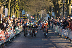 Leah Kirchmann looks to hold off Christine Majerus in the final metres - Drentse 8, a 140km road race starting and finishing in Dwingeloo, on March 13, 2016 in Drenthe, Netherlands.