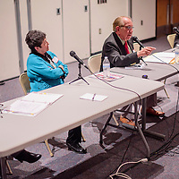021615       Cable Hoover<br /> <br /> Gallup mayoral candidates respond to questions during a forum at UNM-Gallup Monday.