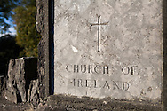 """""""Church of Ireland"""" etched in stone in church cemetery, Sneem, Ireland"""
