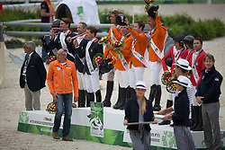 Team NED, Jeroen, Dubbeldam, Greco Schroder, Vrieling Jur, Maikel Van Der Vleuten, Rob Ehrens  - Jumping Second Round Team Competition - Alltech FEI World Equestrian Games™ 2014 - Normandy, France.<br /> © Hippo Foto Team - Dirk Caremans<br /> 04/09/14