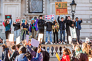 Outside Downing Street - School students go on strike over the lack of action on climate change. They gather in Parliament square and march on Downing Street, blocking the streets around westminster for over an hour.