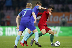 (L-R) Donny van de Beek of Holland, Guus Til of Holland, Andre Silva of Portugal during the International friendly match match between Portugal and The Netherlands at Stade de Genève on March 26, 2018 in Geneva, Switzerland
