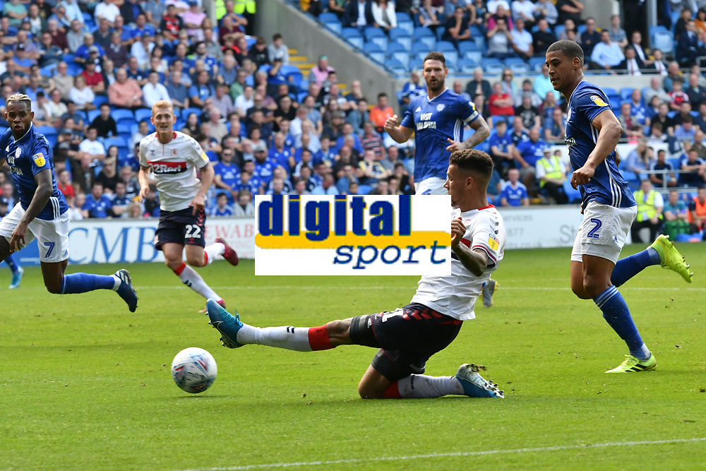 Football - 2019 / 2020 Sky Bet (EFL) Championship - Cardiff City vs. Middlesbrough<br /> <br /> Marvin Johnson of Middlesbrough  crosses the ball, at the Cardiff City Stadium.<br /> <br /> COLORSPORT/WINSTON BYNORTH