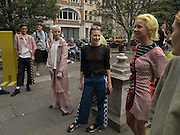 Katie Green, (  designer; ) Demi Scott, Models from Amo casting modeling clothes by Keji in Soho, September 2016