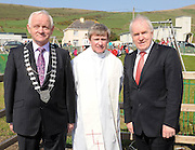 Tim Buckley , Mayor of Kerry, Fr David Gunn and Jimmy Deenihan TD Minister for Arts, Heritage & Gaeltacht Affairs at the official opening of the new St Finans Bay Playground at The Glen, Ballinskelligs, Co. Kerry on Sunday.  Picture: Eamonn Keogh (MacMonagle, Killarney)