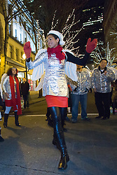 North America, Washington, Seattle, Great Figgy Pudding Street Corner Caroling Competition.  MR