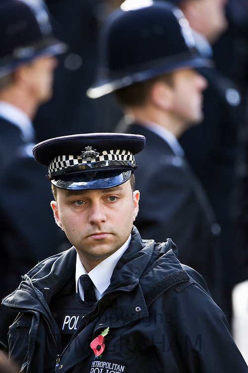 Metropolitan Police security at the Cenotaph, London, England, United Kingdom