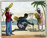 Black slaves working in the cane fields: Planting.  Overseer with whip stands over them.  West Indies? From Amelia Opie 'The Black Man's Lament; or How to Make Sugar'. London, 1826