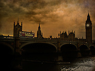 A view of Big Ben in London from the river Thames