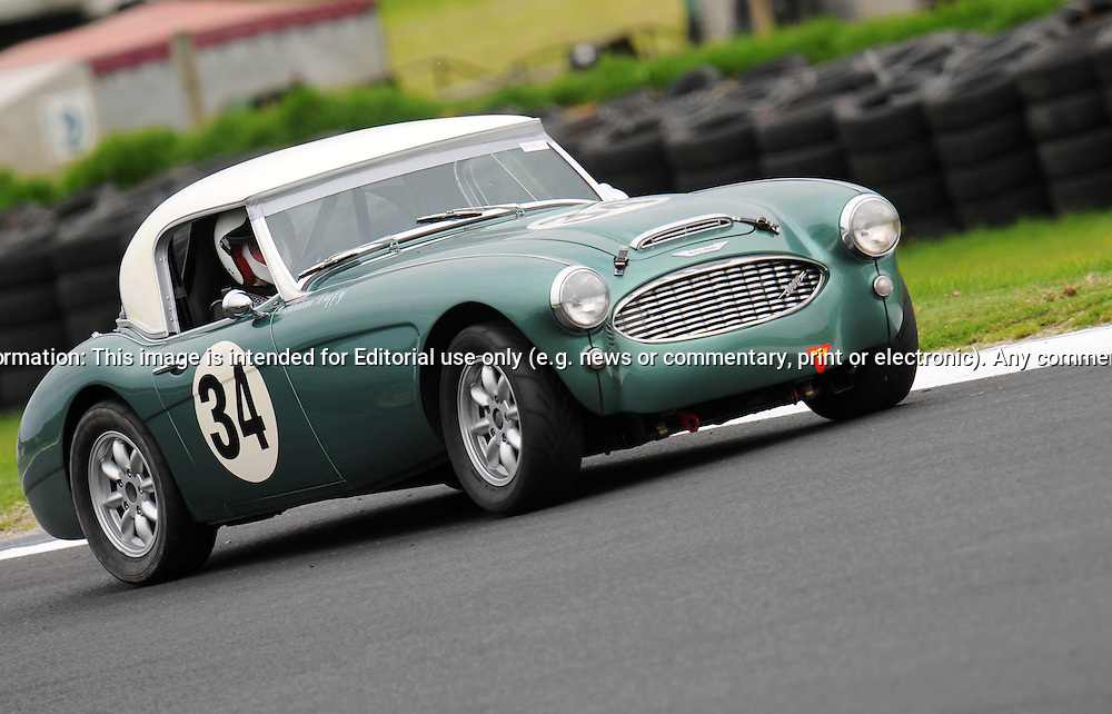 Brian Duffy - Austin Healey 3000 M.Historic Motorsport Racing - Phillip Island Classic.18th March 2011.Phillip Island Racetrack, Phillip Island, Victoria.(C) Joel Strickland Photographics.Use information: This image is intended for Editorial use only (e.g. news or commentary, print or electronic). Any commercial or promotional use requires additional clearance.