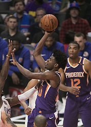 December 20, 2017 - Los Angeles, California, U.S - Josh Jackson #20 of the Phoenix Suns  puts up a shot during their NBA game with the Los Angeles Clippers  on Wednesday December 20, 2017 at the Staples Center in Los Angeles, California. Clippers vs Suns. (Credit Image: © Prensa Internacional via ZUMA Wire)