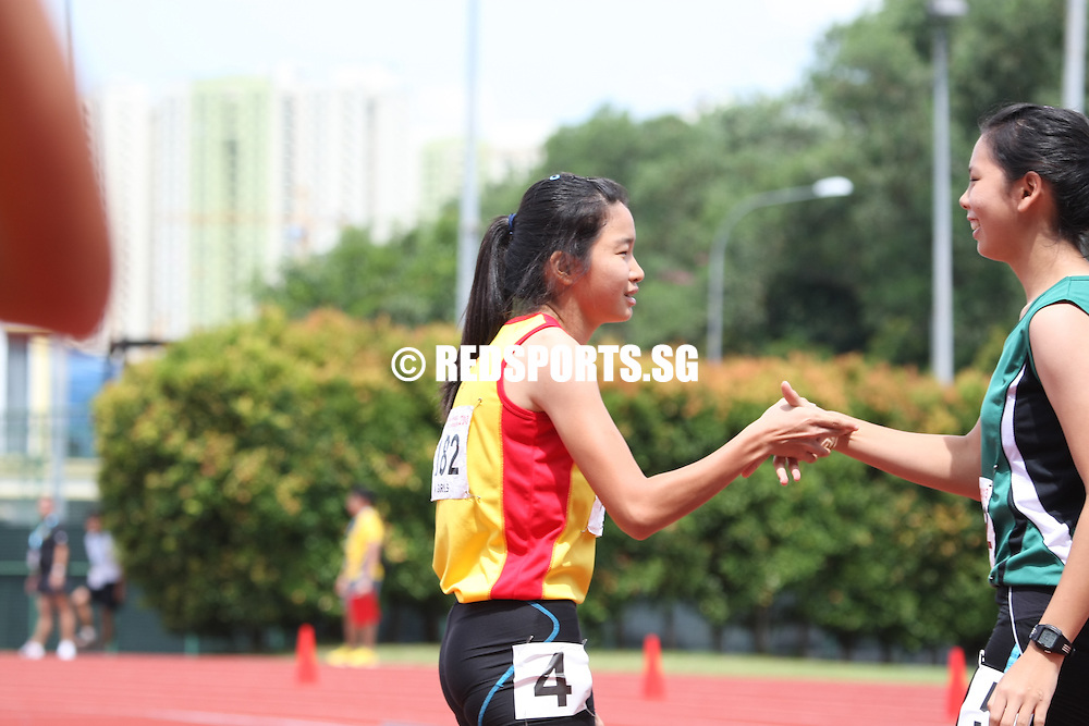 Choa Chu Kang Sports Complex, Wednesday, April 17, 2013 — Lynette Goh of Hwa Chong Institution won the A Division 100m gold in a time of 12.51 seconds at the 54th National Schools Track and Field Championships. This was Lynette's second medal, after she bagged a gold in the 200m final with a 26.13s effort.<br /> <br /> Story: http://www.redsports.sg/2013/04/21/a-div-girls-100m-lynette-goh-hwa-chong-institution/