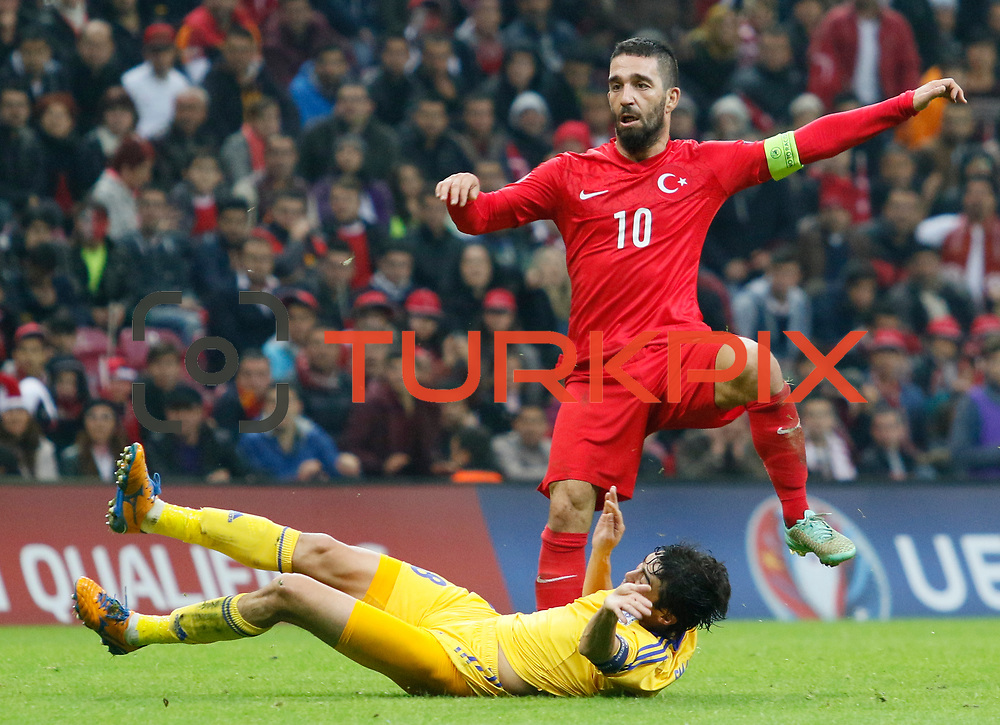 Turkey's Arda Turan (R) during their UEFA Euro 2016 qualification Group A soccer match Turkey betwen Kazakhstan at AliSamiYen Arena in Istanbul November 16, 2014. Photo by Kurtulus YILMAZ/TURKPIX