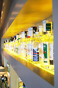 Large selection of Ouzo and Tsipouro in the bar. YaMas restaurant on the waterfront. Thessaloniki, Macedonia, Greece