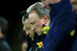 Cardiff City manager Neil Warnock during a minutes silence in memory of Emiliano Sala during the Premier League match at the Cardiff City Stadium.