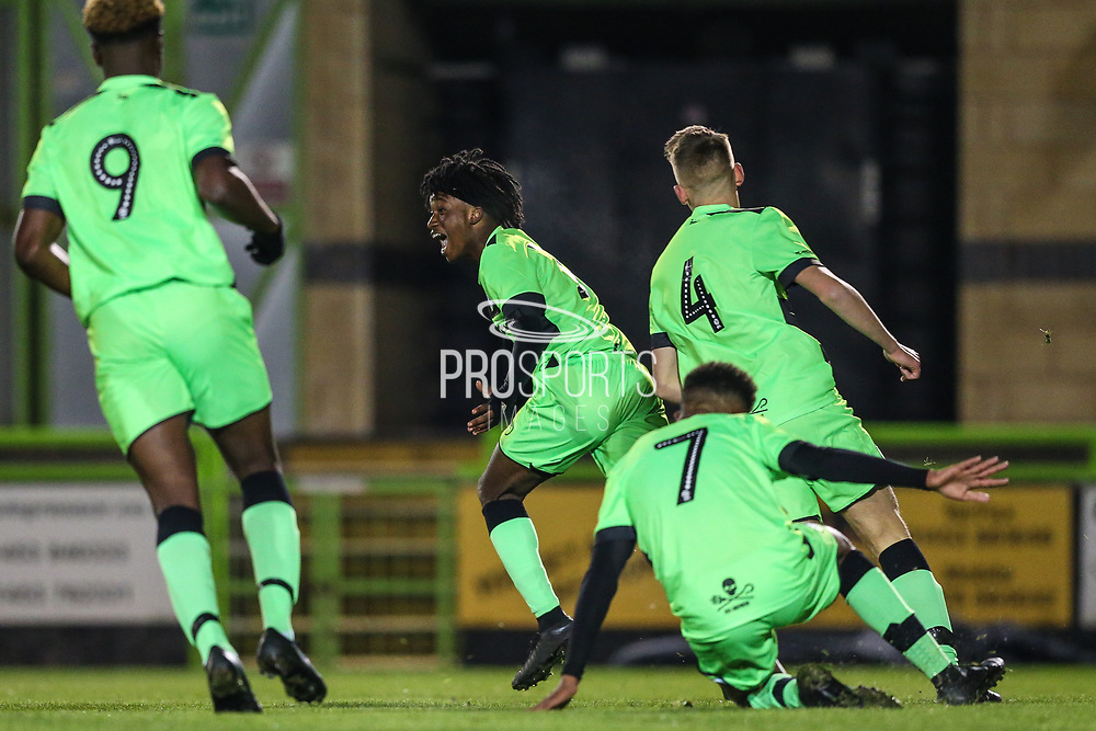 Forest Green Rovers Daniel Ogunleye(11) scores a goal 1-1 and celebrates during the FA Youth Cup match between U18 Forest Green Rovers and U18 Cheltenham Town at the New Lawn, Forest Green, United Kingdom on 29 October 2018.