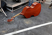 double bass string instrument at an outdoor street festival