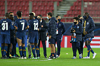 PIRAEUS, GREECE - DECEMBER 09: Players of FC Porto celebrate after the UEFA Champions League Group C stage match between Olympiacos FC and FC Porto at Karaiskakis Stadium on December 9, 2020 in Piraeus, Greece. (Photo by MB Media)