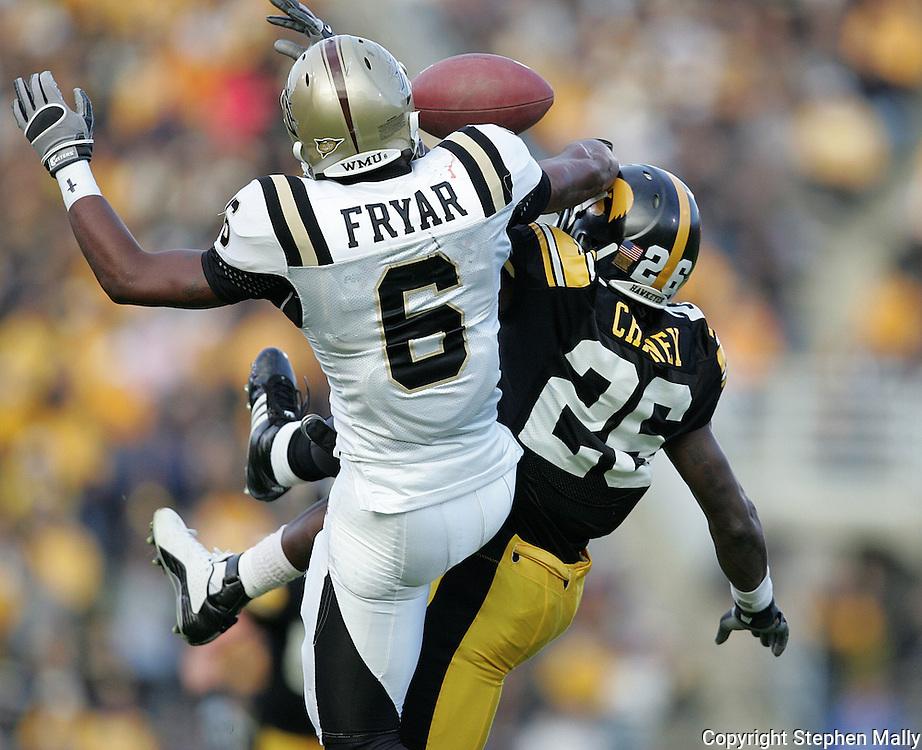 17 NOVEMBER 2007: Western Michigan cornerback Londen Fryar (6) breaks up a pass intended for Iowa wide receiver Paul Chaney (26) in Western Michigan's 28-19 win over Iowa at Kinnick Stadium in Iowa City, Iowa on November 17, 2007.