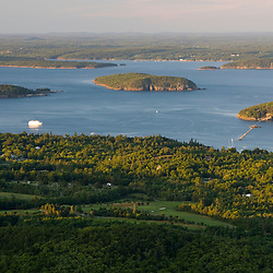 The view of Frenchman Bay from Cadillac Mountain in Maine's Acadia National Park.  Mount Desert Island.