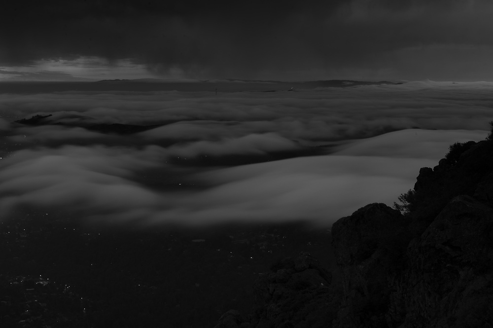 Coastal fog over mill valley. Mt Tamilpais summit.