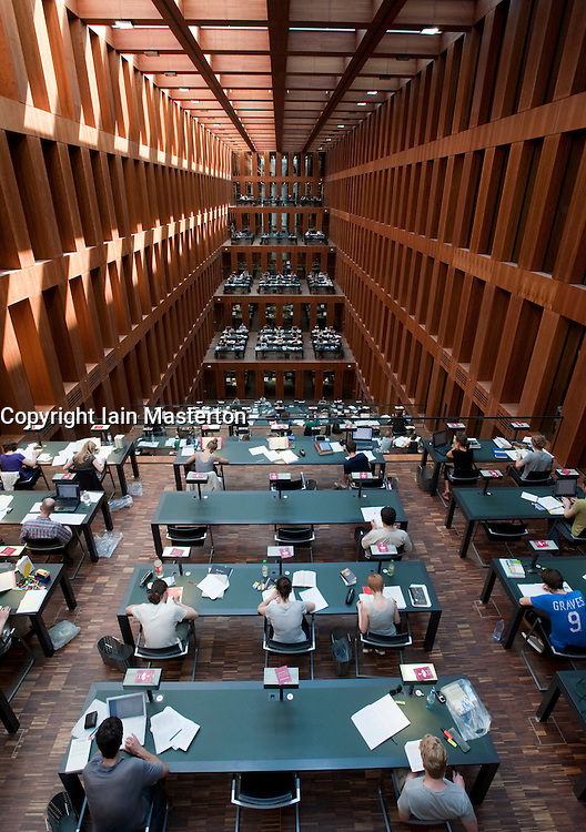 Interior of large atrium study area at Jacob-und-Wilhelm-Grimm-Zentrum  new library at Humboldt University in Berlin Germany