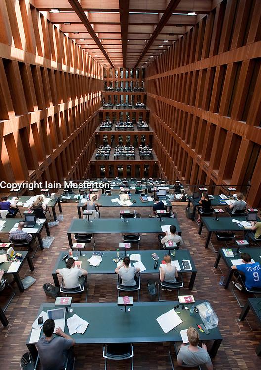 Interior of large atrium study area at Jacob-und-Wilhelm-Grimm-Zentrum  new library at Humboldt University in Berlin Germany